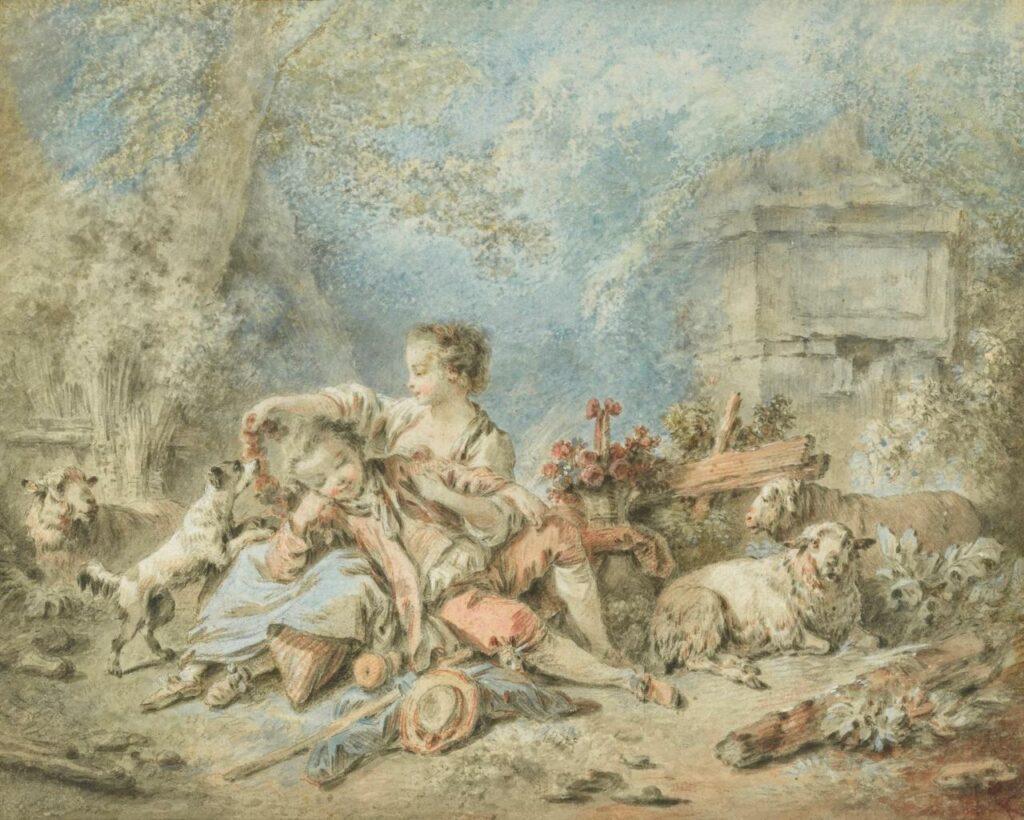 Jean-Baptiste Huet A Shepherd and a Shepherdess Resting